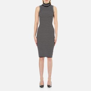 MICHAEL MICHAEL KORS Women's Striped Ribbed Midi Dress - Black