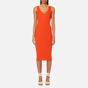 MICHAEL MICHAEL KORS Women's V Neck Rib Sweater Dress - Mandarin