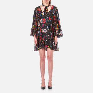 McQ Alexander McQueen Women's V Neck Short Volume Dress - Acid Floral