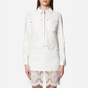 McQ Alexander McQueen Women's Hybrid Lace Bomber Jacket - Ivory