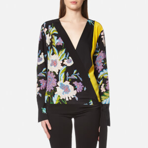 Diane von Furstenberg Women's Long Sleeve Cross Over Blouse - Black