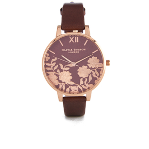 Olivia Burton Women's Lace Detail Watch - Brown/Rose Gold