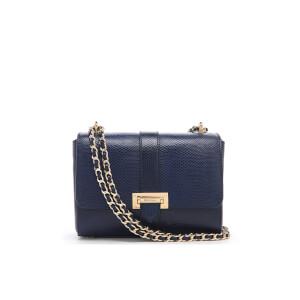Aspinal of London Women's Lottie Bag - Midnight Blue Lizard