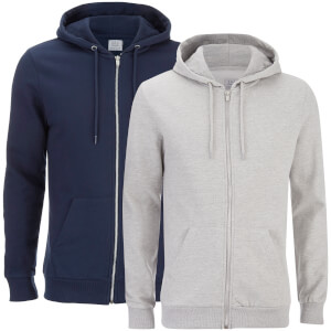 2 Sweats Hommes à Capuche Gridiron Smith & Jones - Bleu Marine/Gris