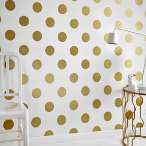 Graham & Brown Kids' Dotty Spot Print Gold/White Wallpaper