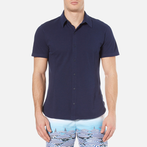Orlebar Brown Men's Morton Short Sleeve Pique Shirt - Navy