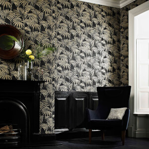 Julien MacDonald Honolulu Glitter Palm Print Black Gold Wallpaper
