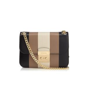 MICHAEL MICHAEL KORS Women's Multi Stripe Sloane Editor Medium Chain Shoulder Bag - Black/Ecru/CSHW