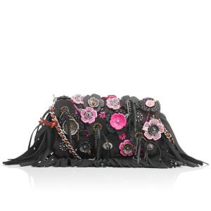 Coach Women's Wild Tea Rose Fringe Dinky Cross Body Bag - Black/Pink