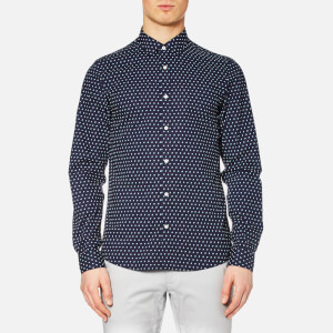Michael Kors Men's Slim Finn Print Long Sleeve Shirt - Navy