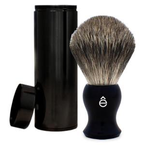 eShave Finest Badger Travel Brush with Canister - Black