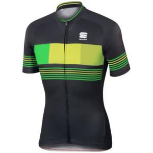 Sportful Stripe Short Sleeve Jersey - Black/Yellow