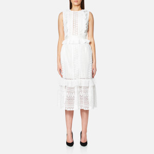 Perseverance Women's Stripe Guipure Lace Sleeveless Midi Dress - Off White