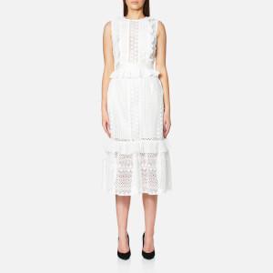 Perseverance Women's Stripe Guipure Lace Sleeveless Midi Dress - Off White