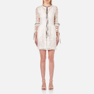 Perseverance Women's Rose Embroidery Lace Contrast Tie Playsuit - White