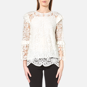 Perseverance Women's Rose Embroidery Lace Tie Back Blouse - Off White