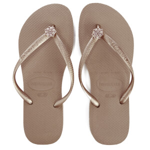 Havaianas Women's Slim Swarovski Crystal Poem Flip Flops - Rose Gold