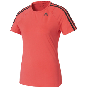 adidas Women's D2M 3 Stripe T-Shirt - Core Pink