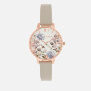 Olivia Burton Women's Parlour Floral Bee Big Dial Watch - Grey/Rose Gold