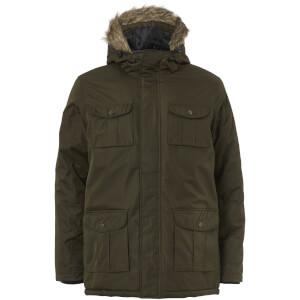 Brave Soul Men's Canadian Fur Trim Parka Jacket - Khaki