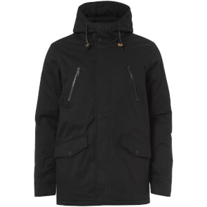 Brave Soul Men's Fingland Coated Parka Jacket - Navy