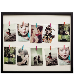 Washing Line 12 Peg Photo Frame - Black