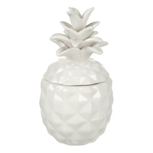 Parlane Ananas Keramische Voorraadpot - Wit (16 x 8,5cm)