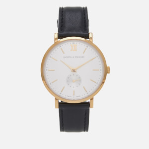 Larsson & Jennings Large Kulor 38mm Leather Watch - Black/Gold/White