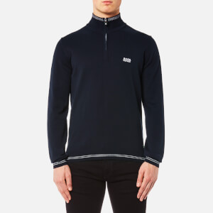 BOSS Green Men's Zime Quarter Neck Jumper - Blue