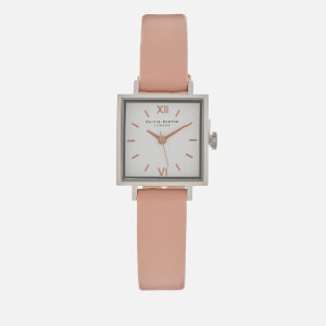 Olivia Burton Women's Midi Square Dial Watch - Dusty Pink, Silver/Rose Gold