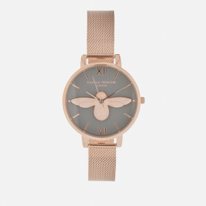 Olivia Burton Women's Big Moulded Bee Watch - Rose Gold Mesh