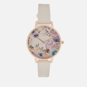 Olivia Burton Women's Enchanted Garden Watch - Vegan Nude/Rose Gold