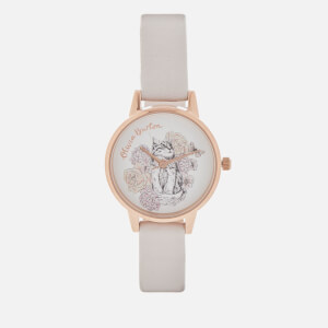 Olivia Burton Women's Illustrated Animal Motif Cat Watch - Grey Lilac/Rose Gold
