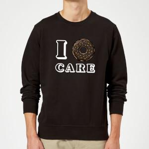 I Donut Care Slogan Sweatshirt - Schwarz