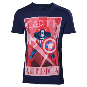Marvel Men's Capt'n America T-Shirt - Navy