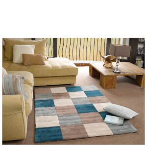 Flair Infinite Inspire Rug - Squared Teal/Duck Egg