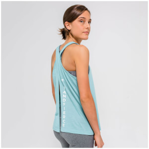 L - Open Back Vest Tank Top - Soft Khaki