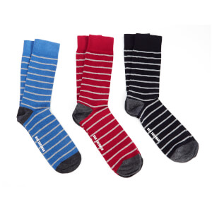 Ben Sherman Men's Avon 3 Pack Socks - Blue/Navy/Red - UK 7 - 11