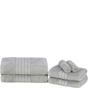 Highams 100% Egyptian Cotton 6 Piece Towel Bale (500 gsm) - Silver