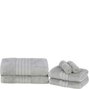 Highams 100% Egyptian Cotton 6 Piece Towel Bale (500 gsm) - Silver