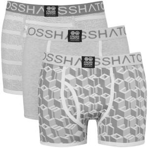 Crosshatch Men's 3 Pack Causeway Boxer Shorts - Grey Marl