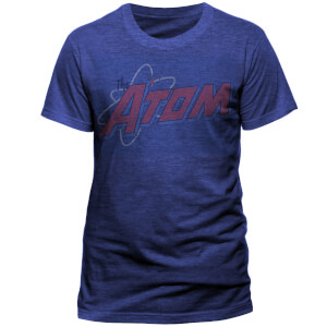 DC Comics Men's The Atom Ditressed Logo T-Shirt - Blue