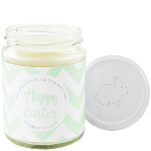 Happy Easter Green Chevron Bunny Pom-Pom Candle
