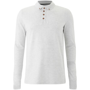 Brave Soul Men's Lincoln Long Sleeve Polo Shirt - White Marl