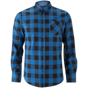 Brave Soul Men's Jack Long Sleeve Check Shirt - Royal Blue