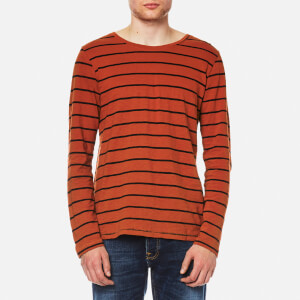 Nudie Jeans Men's Orvar Striped Long Sleeve T-Shirt - Stripe Blood Orange