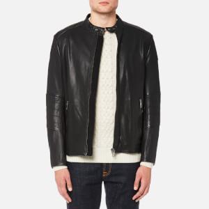 BOSS Orange Men's Jeeper Leather Biker Jacket - Black