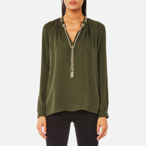 MICHAEL MICHAEL KORS Women's Slit Long Sleeve Chain Neck Top - Ivy