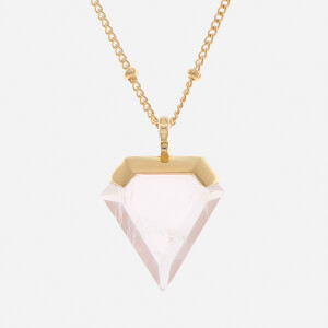 Missoma Women's Rose Quartz Shield Pendant and Gold Beaded Chain - Gold/Pink