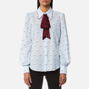 Marc Jacobs Women's Bishop Sleeve Tie Neck Blouse - Light Blue